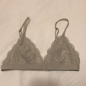 Madewell Lace Bralette, Grey, Small
